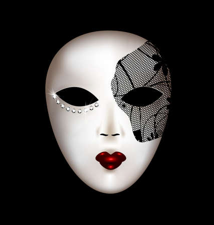 tomfool: dark background and the large white-black carnival mask