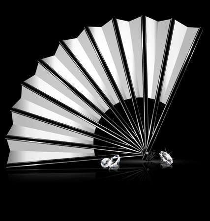 white fan: dark background and the white fan with crystals