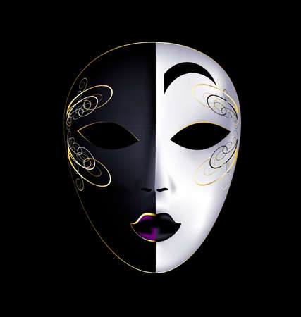 tomfool: dark background and the large white-golden carnival mask Illustration