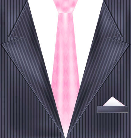 he is beautiful: abstract gray male costume with pink tie Illustration