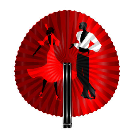 rotund: black fan with image of flamenco dancers Illustration
