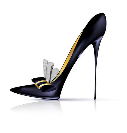 heelpiece: white background and the black ladys shoe with veil and bow Illustration