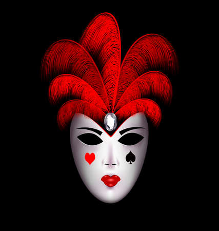 tomfool: dark background and the large white carnival mask with red feathers Illustration