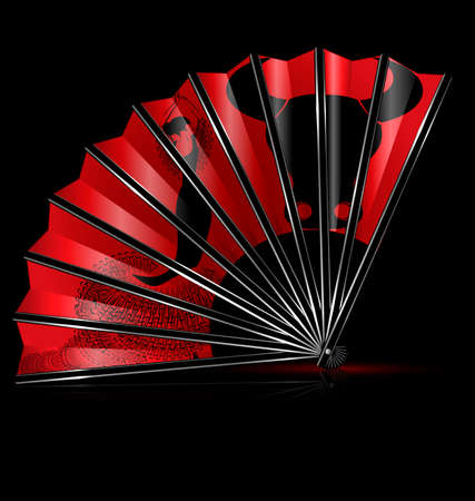 spanish bull: red fan with image of flamenco dance