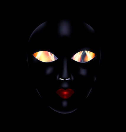 mummer: dark background and the large black mask with fire inside Illustration