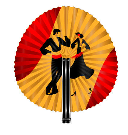 rotund: red yellow fan with image of flamenco dancers