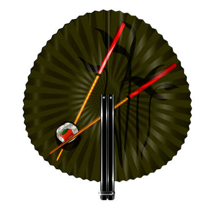 old times: white background and the round green fan with chopstics and sushi Illustration