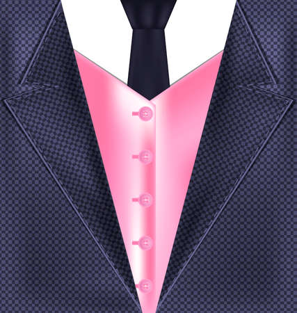 he is beautiful: abstract gray male costume with pink vest and dark tie Illustration