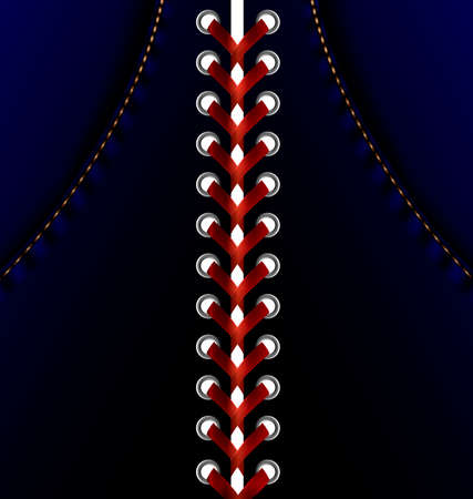 rounde: abstract blue dress and large red lacing