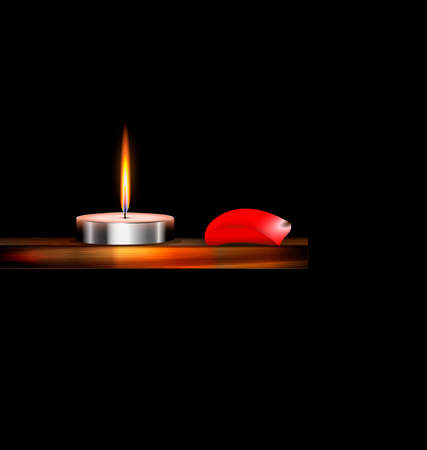 the burning candle on the wooden stand and red petal Ilustração