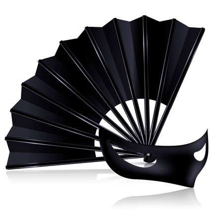 mummer: white background and the black fan with dark half-mask