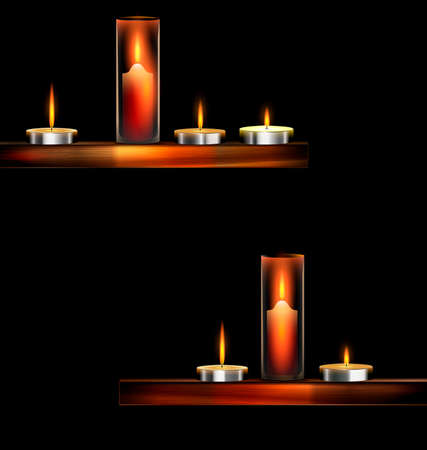combust: dark background and burning candles on the wooden stand