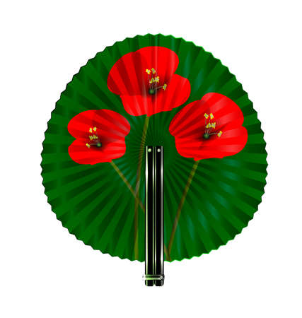 white background and the round green fan with red flowers Illustration