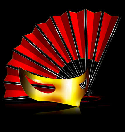 mummers: dark background and the red fan with golden half-mask