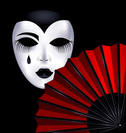 mummer: dark background and the red fan with white mask