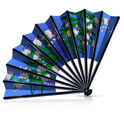 old times: white background and the blue fan with pink flowers