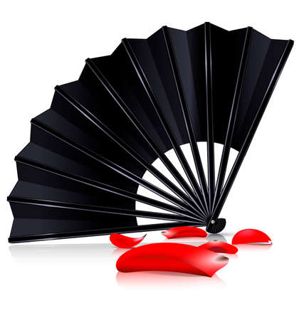 white background and the large black fan with red petals