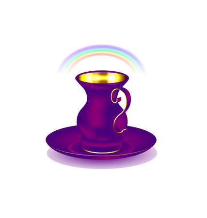 old times: white background and the large purple golden cup with rainbow