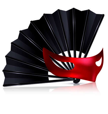 dramatics: white background and the black fan with red half-mask Illustration