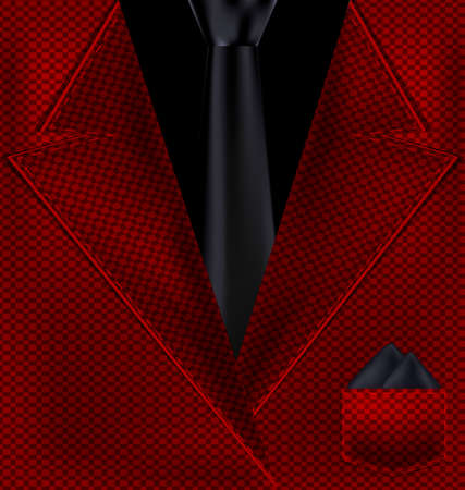 abstract red male costume with black tie