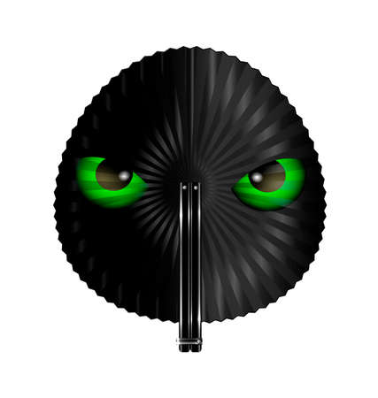 black fan: white background and the round black fan with animal green eyes