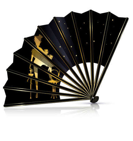 mummers: white background and the black cabaret fan Illustration