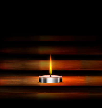 dark background and burning candle on the wooden stand Ilustração