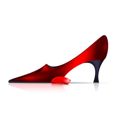 lady's: white background and the red ladys shoe with petal