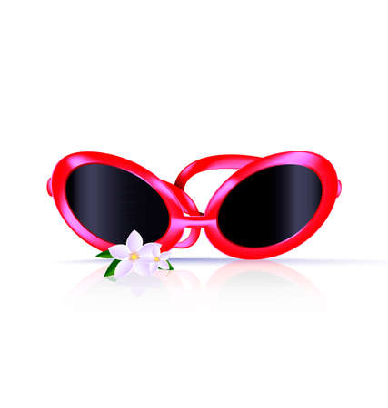spectacle frame: white background and red eyeglasses with flower Illustration