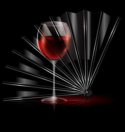 dark background and the black fan with glass of red wine