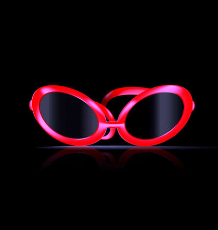 balck: dark background and large red balck eyeglasses Illustration