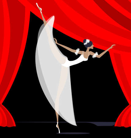 dramatics: against red curtain dancing white ballet dancer