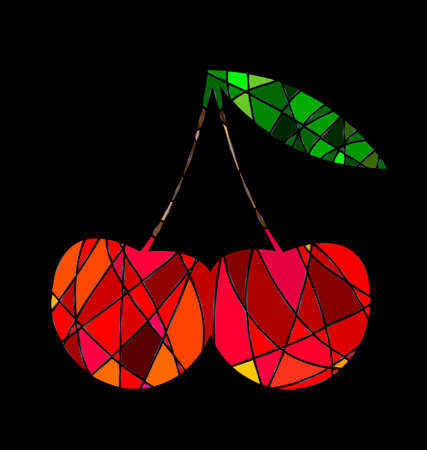 consisting: dark background and abstract image cherry consisting of lines