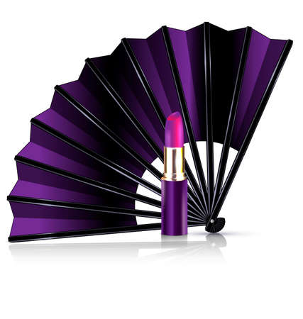 pomatum: white background and the purple fan with lipstick Illustration