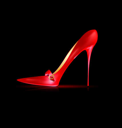 heelpiece: dark background and the red ladys shoe Illustration