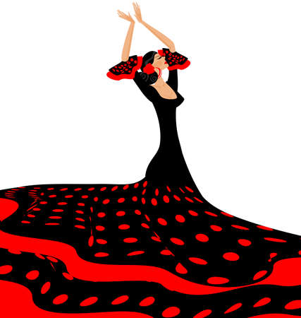 she: white background and Spanish dancer in red-black dress