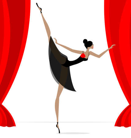 dramatics: against red curtain dancing black ballet dancer