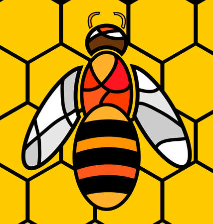 consisting: abstract image of bee consisting of lines