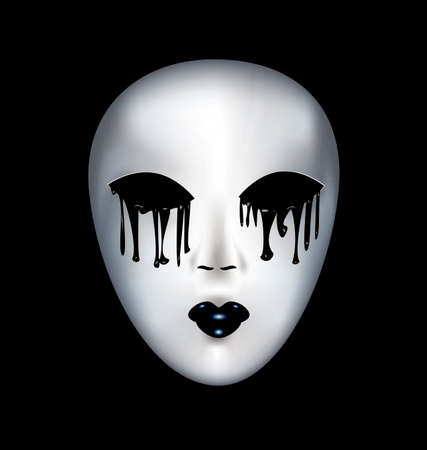 mummers: black background and a white mysterious mask