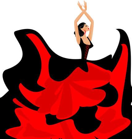 bailando flamenco: fondo blanco y bailarina española en vestido rojo-negro