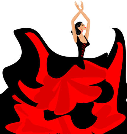 flamenco: white background and Spanish dancer in red-black dress