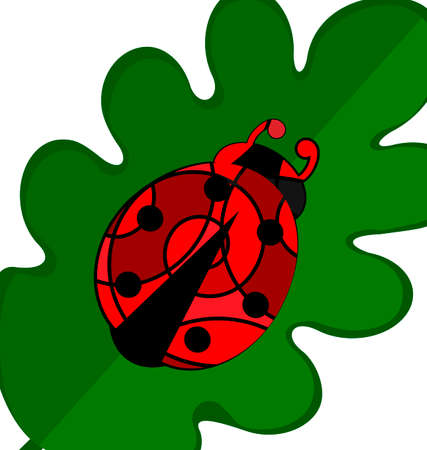 consisting: abstract image of green leaves and red black ladybug consisting of lines Illustration