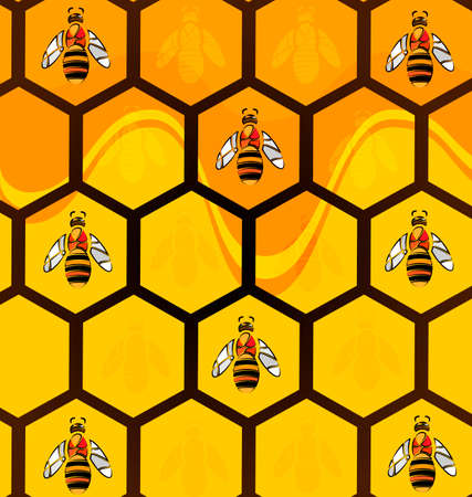 yelllow: abstract image of bees and honeycomb consisting of lines Illustration