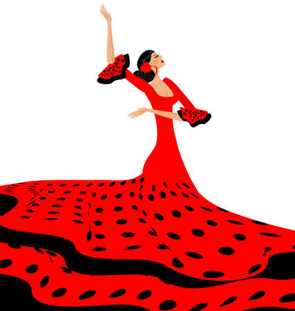spanish dancer: white background and Spanish dancer in red-black dress