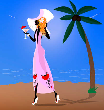 summer, sea, beach and walking red-haired girl with drink