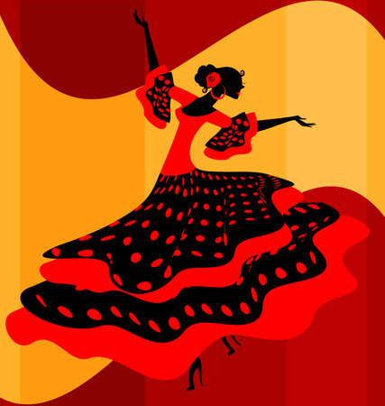 spanish dancer: abstract background and Spanish dancer in red-black dress
