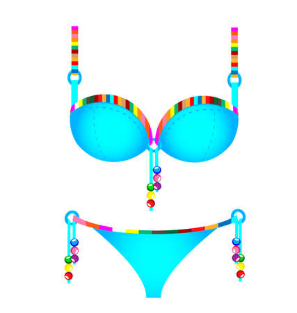 brassiere: white background and the blue colored swimsuit with beads and lace Illustration