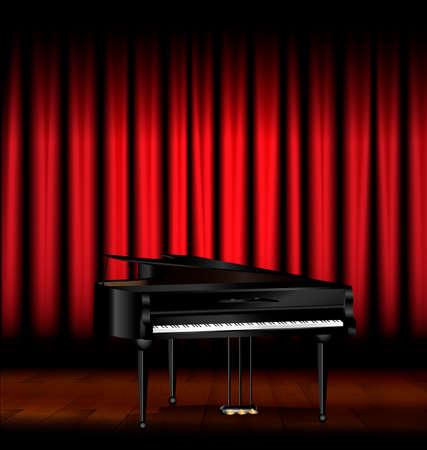 scène sombre, drapé rouge et le grand piano noir