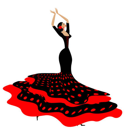 white background and Spanish dancer in red-black dress 版權商用圖片 - 60186137