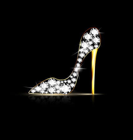 heel: black background and the abstract jewel shoe Illustration